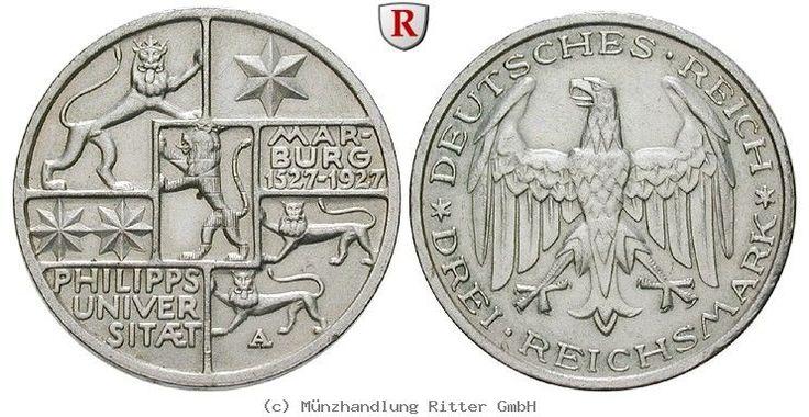 RITTER Weimarer Republik, 3 Reichsmark 1927 A, Uni Marburg, J. 330 #coins