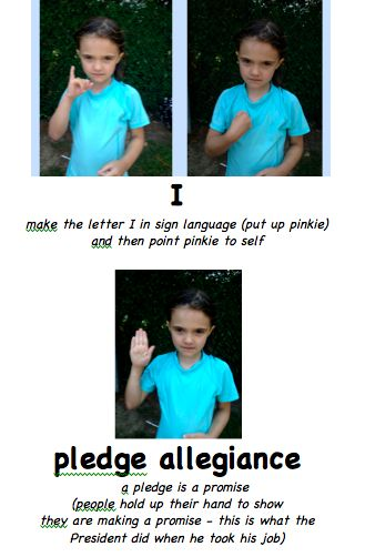 very clear instructions for teaching the Pledge of Allegiance in sign language