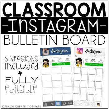 #bestof2016sale This is a modern day bulletin board printable. Print and post pictures of what is going on in your classroom to display for your students, staff, and parents! UPDATED 6/8: includes: old and new instagram styles 3 different sized boxes to choose from PDF or
