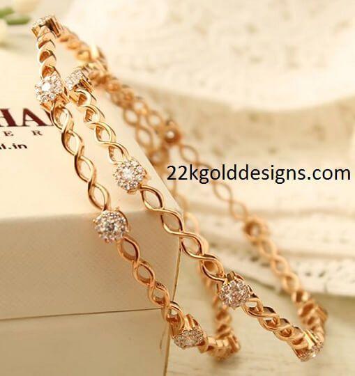 Slim Gold and Diamond Bangles