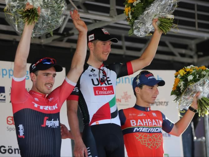 John Degenkolb (Trek-Segafredo), Sacha Modolo (UAE Team Emirates) and Niccolo Bonifazio (Bahrain-Merida) on the podium of GP du canton d'Argovie.