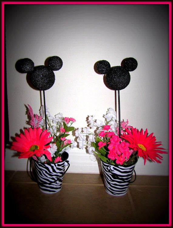 Minnie Mouse Birthday zebra Centerpiece set of 2 by eryacah, $16.50
