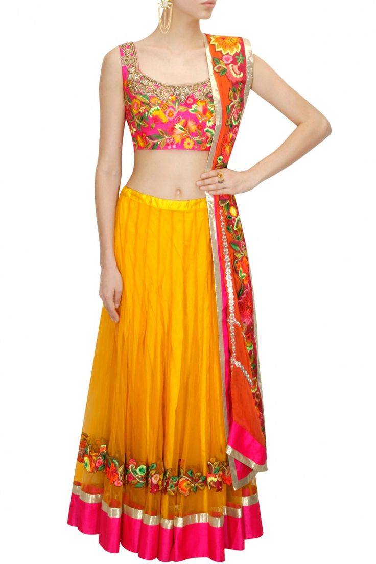 Yellow floral resham embroidered lehenga set available only at Pernia's Pop-Up Shop.