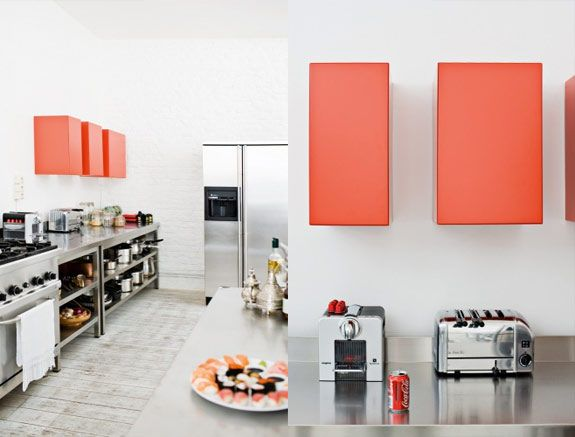 Cool coral/red touches!!: Stainless Steel Kitchens, Colour Kitchens, Nordic Design, Interiors Design, Kitchens Maybe, Apartment, Blog, Brussels