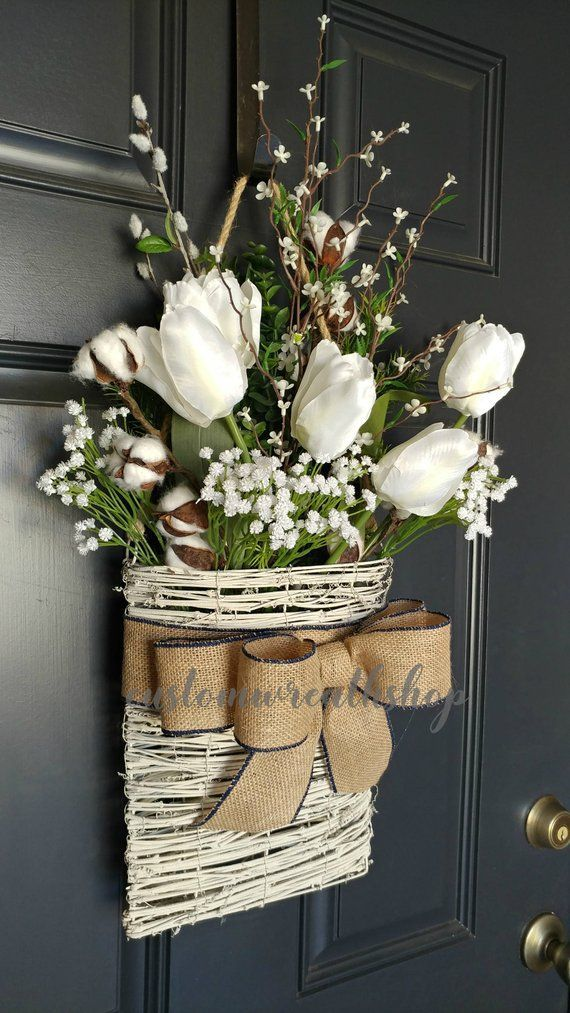 Cotton Wreath Farmhouse Wall Decor Tulip Wreath Front Door Basket Rustic Decor Mothers Day