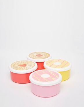 Runde Brotdosen mit Keksprint – Set mit 4