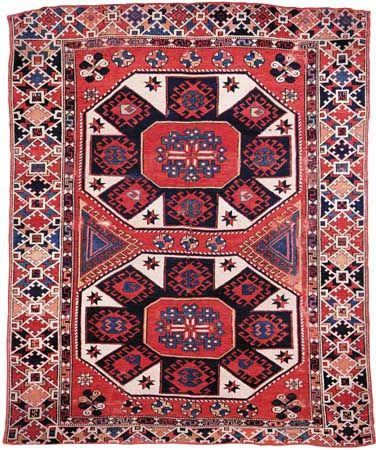 EZÍNE (in the south of the Çanakkale province) carpet, with a two-medallion design, 18th century. 178 × 147 cm.