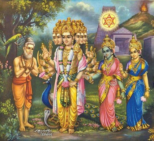 Lord Murugan(also known as Skanda/Kartikeya/Subramaniam/Tandayuthabani/Kumaraswamy/Kumar/Arumugam) with wives Goddess Valli and Goddess Devasena.