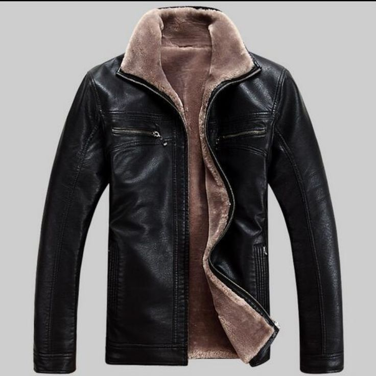 Winter leather jaqueta Men Faux Lamb Fur Coats Men's Casual Motorcycle Leather  Jacket Thicken Overcoat For