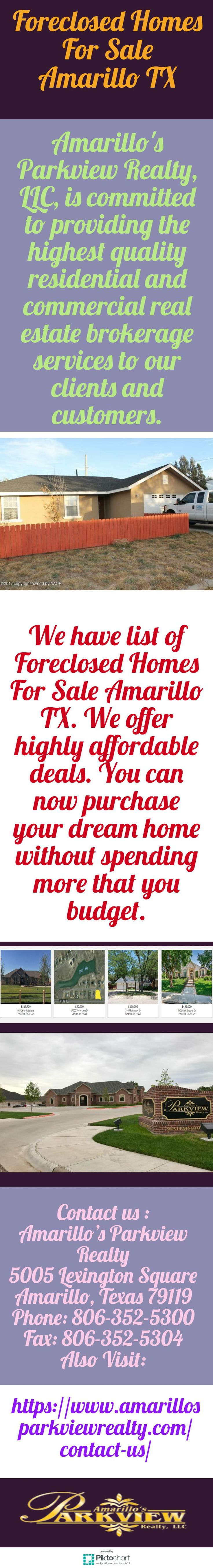 We have list of Foreclosed Homes For Sale Amarillo TX. We offer highly affordable deals. You can now purchase your dream home without spending more that you budget. For more detail, visit our website:  https://www.amarillosparkviewrealty.com/contact-us/