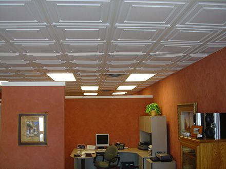 White Drop Ceiling Tiles For Bedroom With Orange Wall Colors