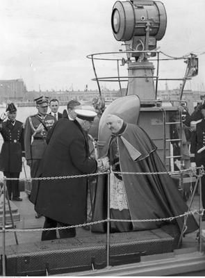 President of Poland Ignacy Mościcki greets with bishop Stanisław Okoniewski onboard ORP Mazur. Photograph taken 11 VII 1937 in port of Gdynia, Poland.