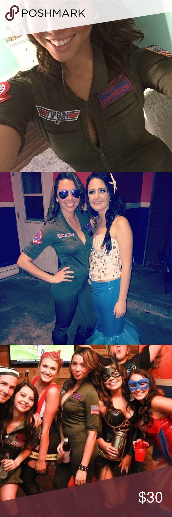 Halloween costume, full body suit top gun Halloween costume. Female top gun full body suit. Fits tight and very comfortable. spirit halloween  Other