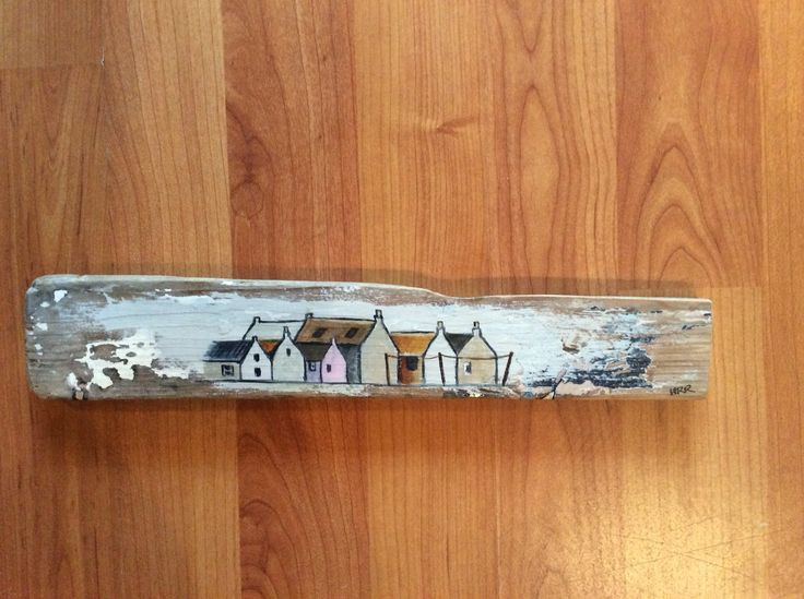 Banff beach driftwood painted with Cottages from Crovie