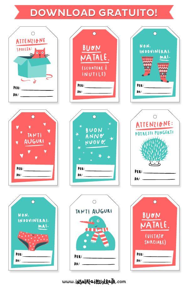 Free printable | Gift tags | Fun Christmas | Pacchetti Natale | Free download | Insalata illustrata