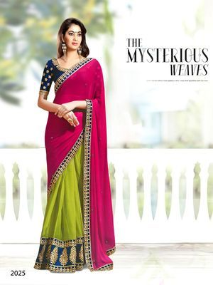 Pink , green embroidered georgette saree with blouse