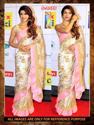 cream and pink ambroidery chiffon  party wear saree with blouse Bollywood Sarees Online on Shimply.com