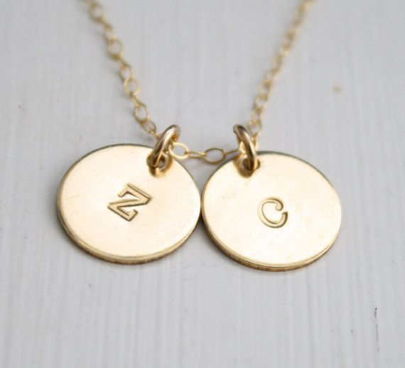 14k Gold Filled Double Disc Initial Necklace Mothers by edenzoe
