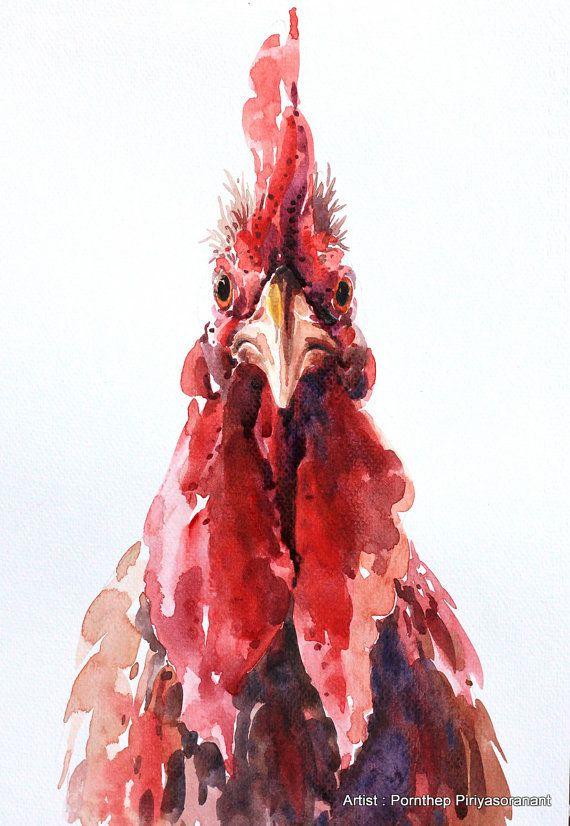 Artículos similares a Gallina gallina pintura, acuarela de pájaro, pintura, arte del pájaro, acuarela, tamaño de la impresión de arte 8 X 11 pulgadas para la decoración de la habitación y regalo especial No.201 en Etsy
