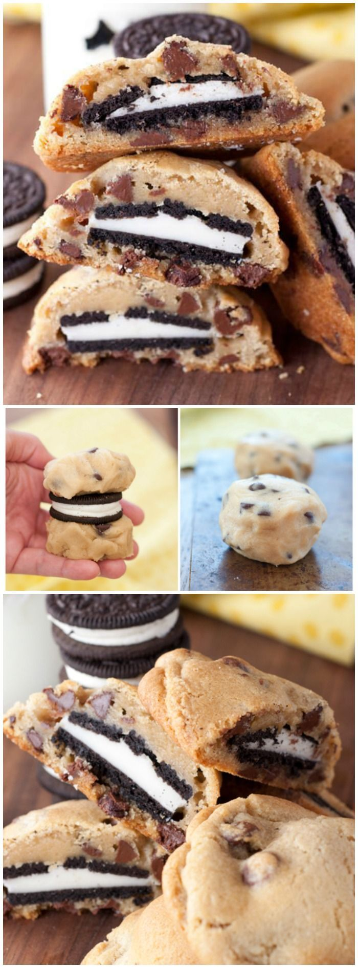 OREO Stuffed Chocolate Chip Cookies Recipe || Featured on http://www.thebestblogrecipes.com