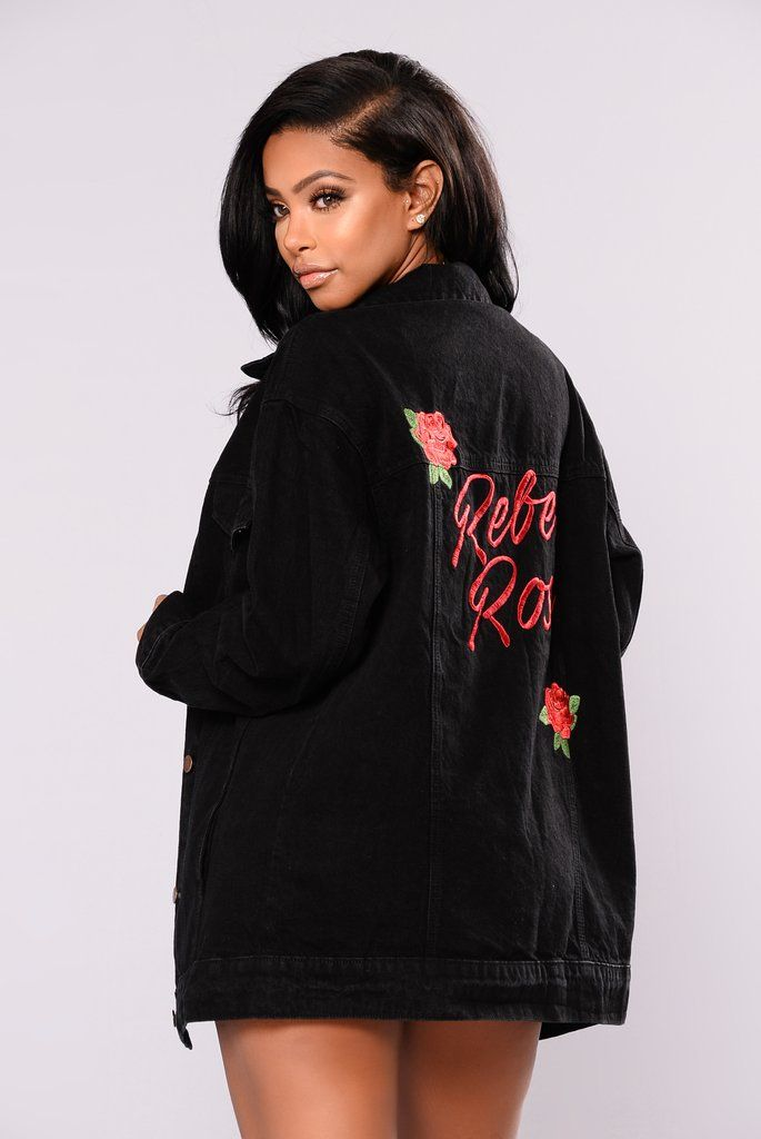 Rebel Rose Denim Jacket - Black