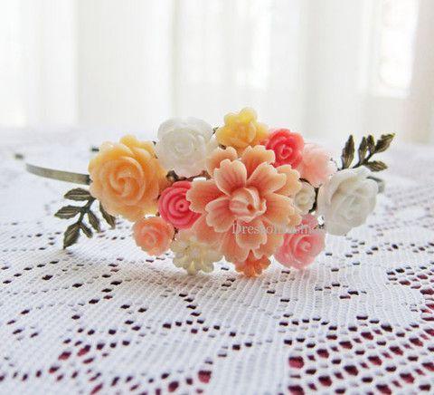 diadeem lichtroze roze zalmkleur oranje lichtoranje pasteltint perzikkleur bruiloft bruidsmeisje bruid wit cremekleur headband haaraccessoire - Dressoir Fashion