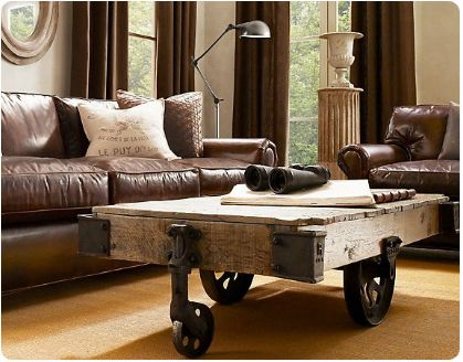 Knockout Knockoffs Restoration Hardware Lancaster Leather Den The Look For Less Pinterest Home Cart Coffee Table And Furniture Factory