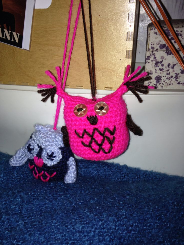 I made...Owls! Crochet and buttons. Just for fun