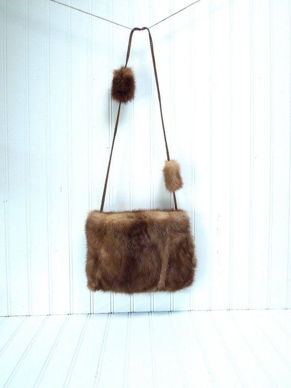 Handmade Fur Purse Vintage Brown Mink Purse - for handles on mink hand warmers