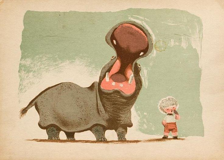 Jiří Trnka - Boy and hippo, lithography