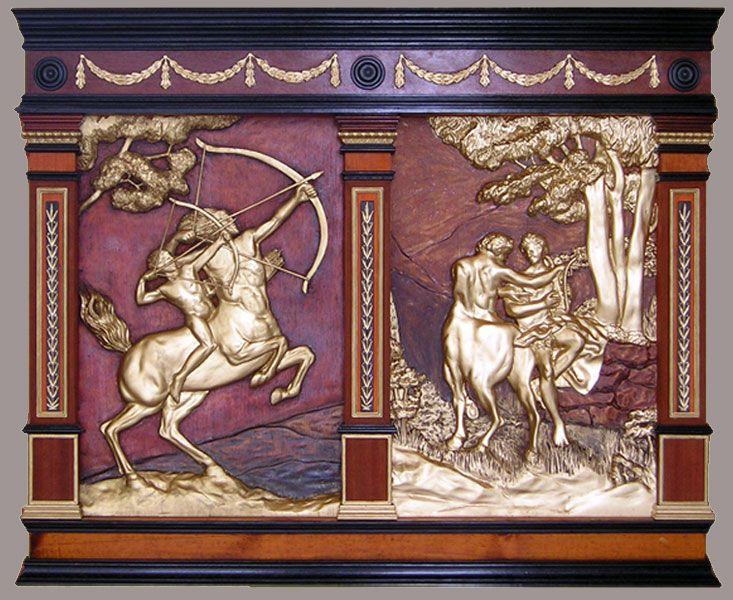 """J. M. Félix Magdalena.- """"EDUCACIÓN DE AQUILES"""" ,talla en madera de cedro (con temas tomados de S. Sargent y P. Battoni),  105 x 86 x 6 cm"""