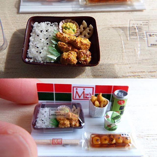コンビニの塩からあげ弁当セット完成しました。 塩からあげ弁当、厚切りポテト、アロエヨーグルト、みたらし団子、お茶缶、箸のセットです。 蓋は開閉可能でブルタックで仮止めしてます。 第18回 東京ドールハウス・ミニチュアショウ 2016年6月18日(土)13時~17時 6月19日(日)10時~16時 東京都立産業貿易センター台東館 7階展示室 ブース 84a  で、販売します。 よろしくお願いします💕  #フェイクフード #コンビニ #ミニチュアフード #コンビニフード#塩からあげ弁当#みたらし団子#お茶缶#厚切りポテト#アロエヨーグルト #東京ドールハウス