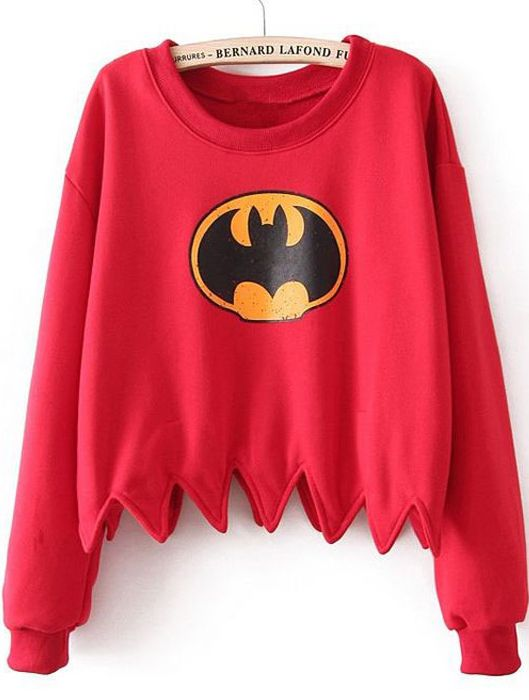 Red Batman Print Dentate Hem Crop T-shirt - Sheinside.com