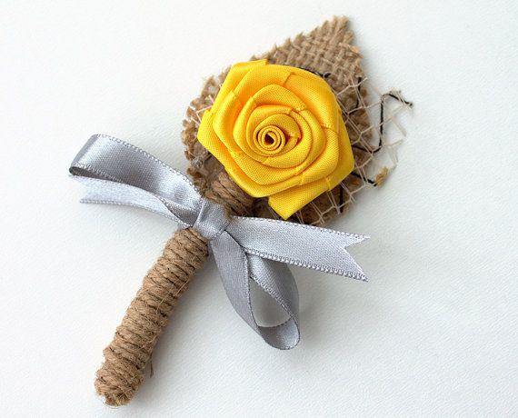 ramo de novia, novio ojal, padrinos de boda ramillete, Natural Eco amigable, amarillo y gris