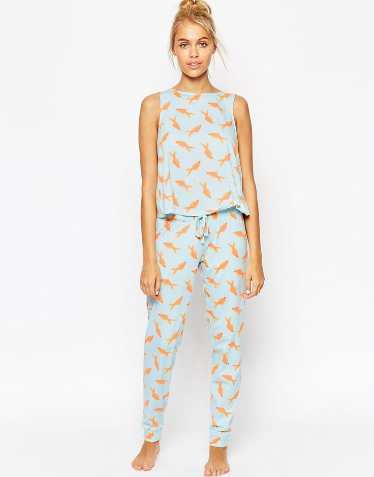 Image 1 of ASOS Goldfish Photographic Vest & Legging Pyjama Set