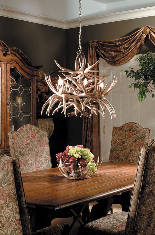 """This is one of our most beautiful and affordable Whitetail Antler chandeliers. It features 19 trophy sized Whitetail antlers and 6 lights. 24"""" x 30"""" .It comes with an antique brass canopy and 36"""" of a"""