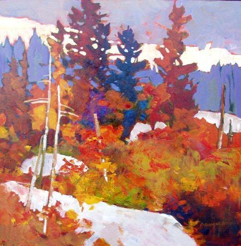 Brian Atyeo- fall landscape with conifers, dreamlike intense colors