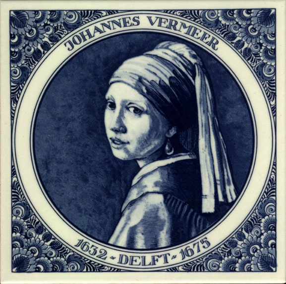 "Delft blue tile artwork of Vermeer's ""Girl with a Pearl Earring"" - from Holland Souvenir Shop;   15 x 15 cm      ...no longer available..."
