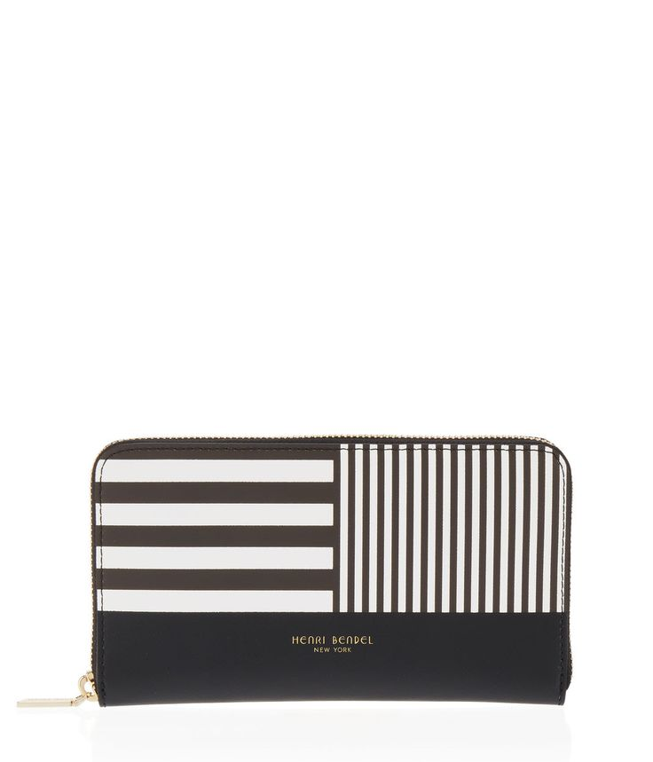 You will know you're every bit as chic as they say each time you reach for your Centennial Stripe Zip Around Continental Wallet. Crafted with fine Saffiano leather printed with a mod interpretation of our signature stripe, this luxury wallet boasts ample slots and compartments to keep you organized and polished in true Bendel spirit.
