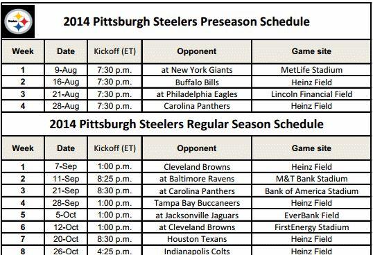 Pittsburgh Steelers 2013 Schedule Printable   Print out your Pittsburg Steelers Schedule for 2014