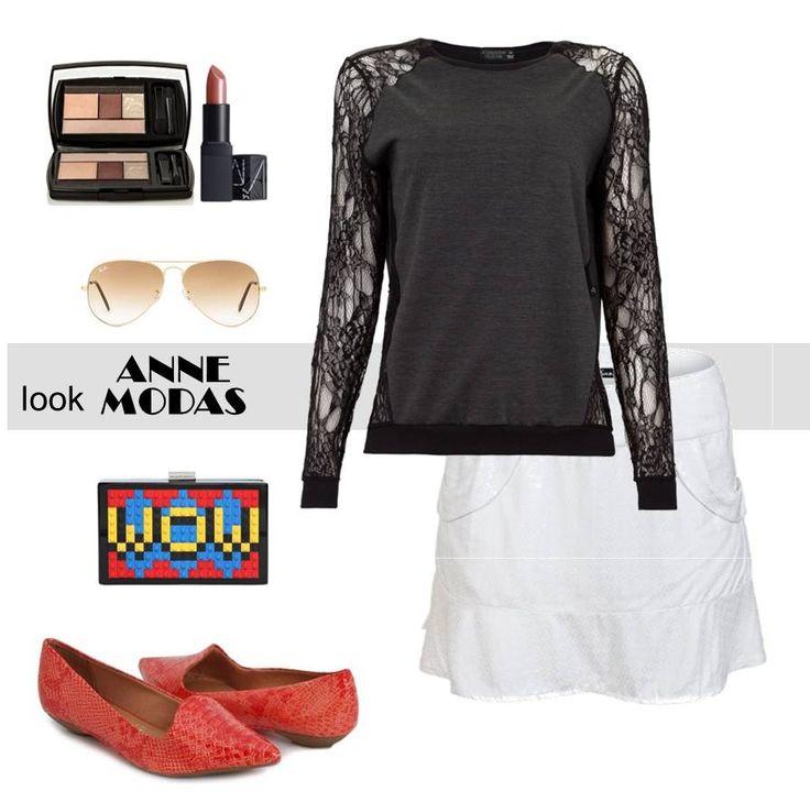 O preto e o branco não tem erro não é mesmo? E para dar um ar moderno ao look aposte em sapatilhas vermelhas de ponta fina que alonga e deixa a mulher mais feminina. #lojavirtual #lookcompleto #moda #anne_modas