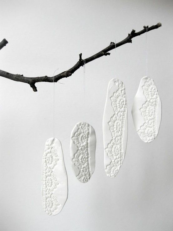 Press lace into DAS clay - leave to dry - don't forget to make a hole for thread!