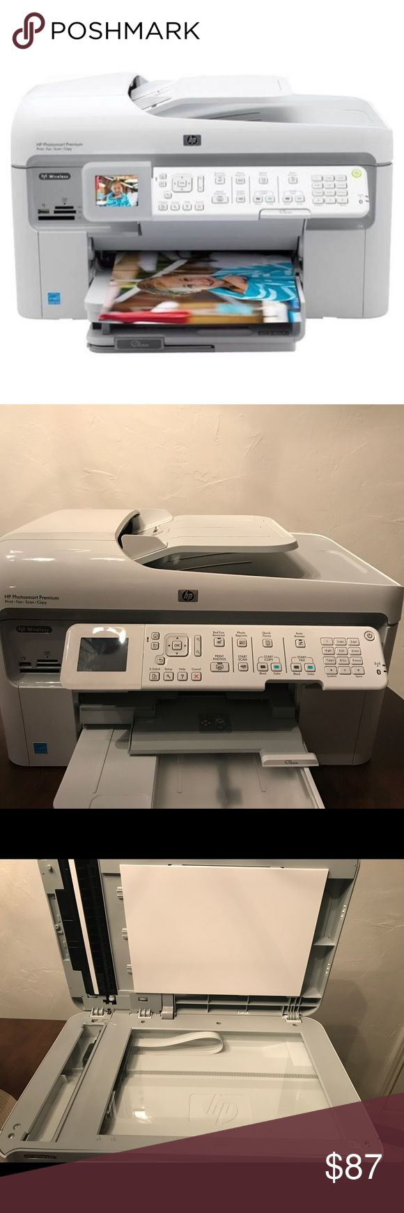 HP Photosmart Premium All in one inkjet C309A Details:Incudes cord and adapter.  Needs PHOTO CARTRIDGE ink! Purchasable anywhere!  Versatile all-in-one with fax, photo features and more. Wireless networking with easy setup is important for their multi-PC home. - This versatile all-in-one offers print, fax, scan and copy functions, plus a 2-sided automatic document feeder and duplexer.  Technology: Inkjet Printer Type All-In-One Printer Photosmart Premium C309A Black Print Speed: 33ppm…
