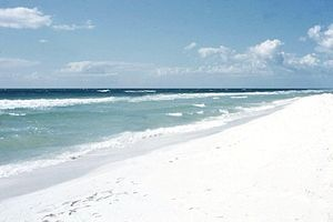 Beautiful white sands of Pensacola Beach, Florida. Great beach to visit because there are miles of beach where there are NO people around so you can grab a book and relax and read without getting hit in the head with a frisbee.