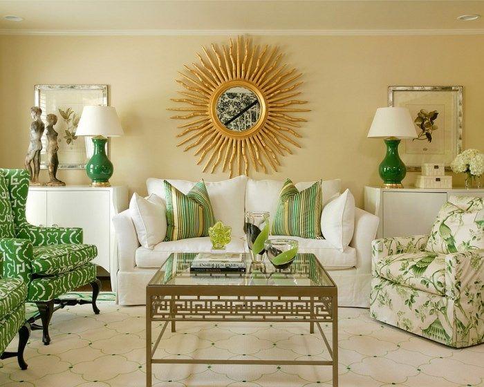 Солнечная гостиная в зеленом цвете