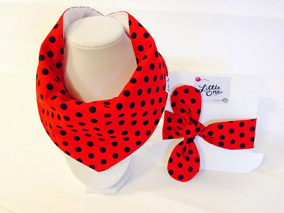 Bandana bib-Red bandana Gift set-Polka dots clothing-pola dots