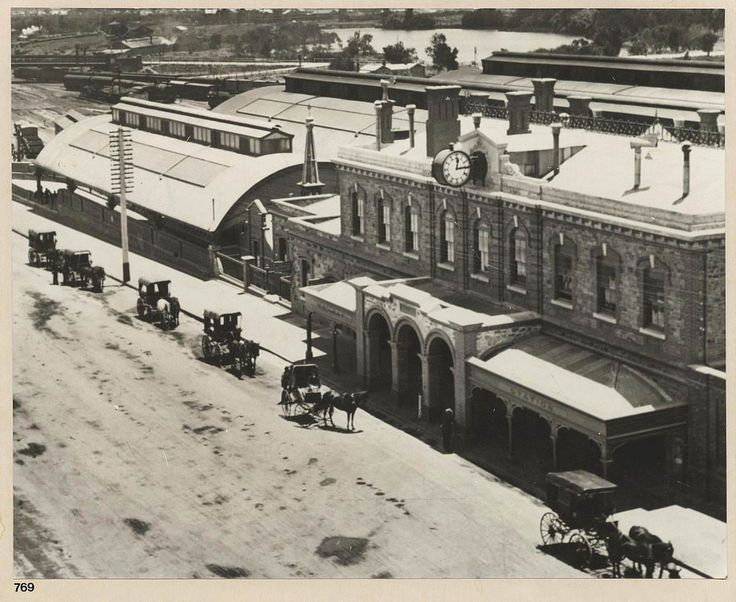 Adelaide Railway Station, North Terrace, 1900 - View taken from an elevated…