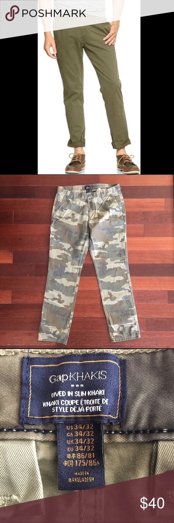 "NWT $60 GAP Lived In Slim Khaki Camouflage 34 NEW With Tags $60 GAP Men's Lived In Slim Fit Khakis in Camouflage. Size 34 with 32"" inseam. Slim through the leg. Sits at the lower waist. Slub twill weave. Zip fly, button closure. Front coin and slant pockets. Rear welt pockets. Please review photos in detail and ask questions prior to purchasing. GAP Pants Chinos & Khakis"