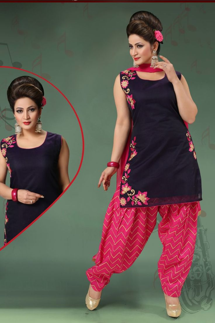 Bold Nevy Blue and Deep Pink Designer Salwar Kameez. Look simple yet rich with wearing this Salwar Suit with Embroidered work. As shown as bottom and dupatta come with. #casualsalwarsuit, #patialasalwarsuit, #punjabistyle http://www.addsharesale.com/