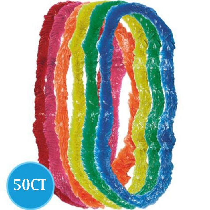 "50 colorful leis Guest can pick from an assortment of colors Plastic 36"" Perfect for your Hawaiian Party"